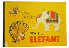 Falter, Pfau und Elefant (butterfly , peacock and elephant) designed by Hilde Bohemian Burkhardt