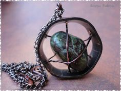 Dragon Stone Agate Necklace  Caged Stone by ScorpioFashions