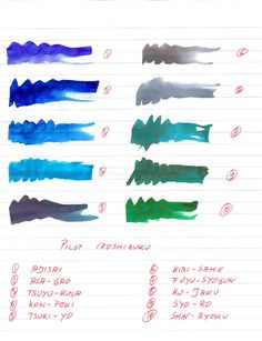 Pilot Iroshizuku Inks - Ink Comparisons, Scans and Tests - The Fountain Pen Network