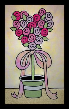 """Quilted wall hanging pattern - Rose Topiary - 43"""" x 27"""" - $8"""