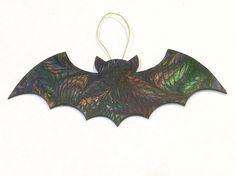 Hand Marbled Bat Halloween Samhain Decoration