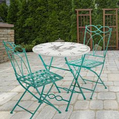 Start your own backyard #café with this 3-piece turquoise #bistro set! The clock tabletop design adds a unique timeless touch to any patio.