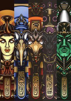 Egyptian Gods - The Book Egyptian Mythology, Egyptian Symbols, Ancient Egyptian Art, Egyptian Goddess, Ancient Aliens, Ancient Greece, Ancient History, Osiris Tattoo, Egypt Concept Art