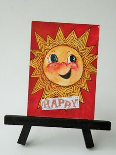 Artist Trading Card of Sun on Stand/Original Art/Desk Art/ACEO/Watercolors on Etsy, $17.99