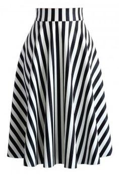 Slanted Stripes Faux Leather Midi Skirt - Bottoms - Retro, Indie and Unique Fashion