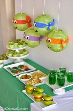 Party Themes & Ideas Teenage Mutant Ninja Turtle Party Ideas Intended For Teenage Mutant Ninja Turtles Party Decorations - Best Home Decor Ideas Ninja Turtle Party, Ninja Party, Ninja Turtle Birthday, Ninja Turtles, Teenage Turtles, Turtle Birthday Parties, Birthday Party Themes, Boy Birthday, Birthday Basket