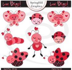 Instant Download Love Bugs Valentine Digital Clip Art Web Design, Card Making, Scrapbooking - Personal and Commerical Use