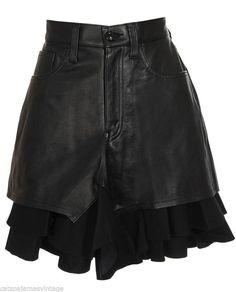 Junya Watanabe Comme Des Garcons Leather High Waist Shorts w Frilled Wool Trim AW2011 Sz Medium