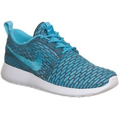 Nike Roshe Run Flyknit (w) ($150) ❤ liked on Polyvore featuring shoes, nike, clear water grey, hers trainers, trainers, grey shoes, waffle shoes, woven shoes, nike shoes and gray shoes