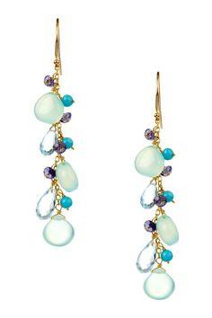 14K Yellow Gold Chalcedony, Iolite & Turquoise Dangle Earrings