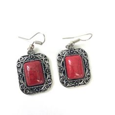 Bold red howlite in a romantic silver tone filigree border. These earrings measure about tall not including the hook and wide. Let us know if you have any questions about this item! Cherry Red, Vintage Earrings, Filigree, Dangle Earrings, Dangles, Romantic, Silver, Jewelry, Jewels