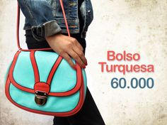 Bolso turquesa-rojo $60.000