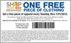 FREE Piece Of Apparel at Sears Outlet Stores Every Tuesday on http://hunt4freebies.com