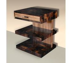 Night Table in Horn & Straw Marquetry
