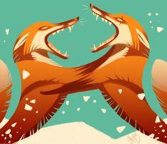 Foxfight by KleXchen.deviantart.com