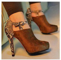 La primavera de nuevo 2014 serpentina sexy botas de tobillo de alta- de tacón de gamuza de individuales femeninos zapatos de las mujeres de la bomba