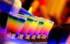 Traffic Lights  Mixed Drinks: layer 1/3 shot grenadine syrup. 1/3 shot Gailliano herbal liquor. 1/3 shot Midori melon liquor OR use 2/3 shot of Coco Buton and 1/3 shot of 95%alcohol. then 1 shot limoncello. then 1 shot of strawberry vodka