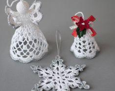 Ornements de crochet que crochet Noël ensemble blanc argent ornements Set de Bell, Ange blanc, décor de Noël de flocon de neige or argent rouge vert