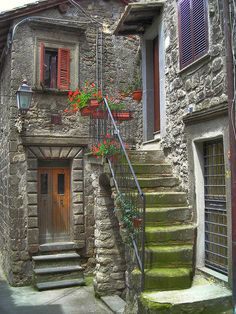This would be a really cool side or back entrance for an in-law suite   (Bomarzo borgo  Italy)