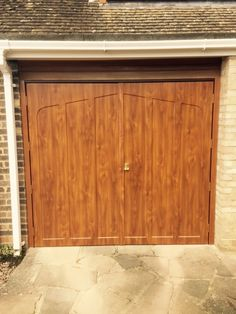 Golden Oak Side Hinged Garage Door, installed in Chipping Norton Timber Garage Door, Side Hinged Garage Doors, Cool Garages, Golden Oak, Outdoor Decor, Design, Country, Home Decor, Stairway