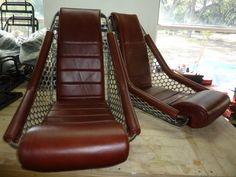 Hot Rod Zeppelin seats, leather and aluminum sides,here without headrest. Classic Custom Seats by GTSclassics
