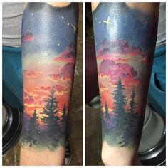Good start on this sunset piece. Adding on some gnarly space stuff next session. Sorry for the glare  #sunset #color #tattoo #sunsettattoo #landscape #sky #trees #treeline #clouds #divinitytattoo #phoenix #arizona #azartist