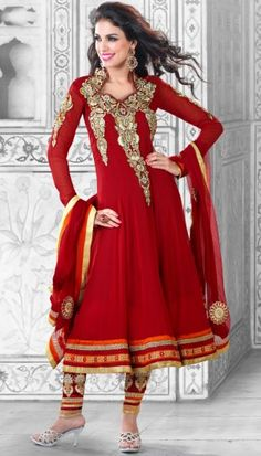 red poly georgette embroidered unstitch anarkali suit with chiffon dupatta