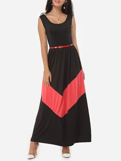#Fashionmia - #Fashionmia Color Block Absorbing Charming Maxi-dress - AdoreWe.com