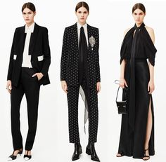 Breaking Trends Pre-Fall 2015: Givenchy.  From black-and-white formal wear to cozier weekend wear, Givenchy offered a wide range of apparel and accessories. For evening, the long silk scarf and vintage brooch stole the show, while for day, matchy-matchy printed bags and furs warmed up the gray landscape.Accessories Magazine