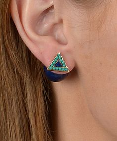 Love this Turquoise & Navy Triangle Double-Sided Stud Earrings by Journee Collection on #zulily! #zulilyfinds