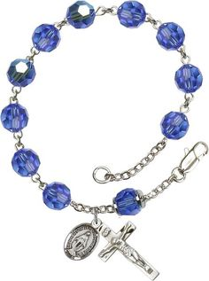 Sterling Silver Rosary Bracelet features 8mm Sapphire Swarovski, Capped Our…