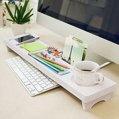 Desk Organiser Wood Plastic Board Storage Keyboard Commodity Shelf Small Table | eBay