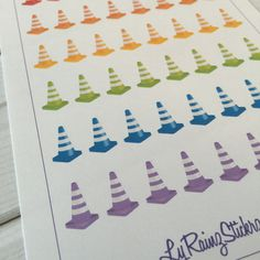 Colorful Construction Cones for Passion Planner, Erin Condren, Happy Planner…