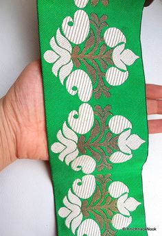 This listing is for a lovely Green Fabric Trim With Beige And Gold Thread Embroidery.  Width: Approx. 10.3 cm This listing is for 1 yard.  PLEASE NOTE: The colours may vary slightly from the images above  Other Colours: https://www.etsy.com/uk/listing/292198931/fuchsia-pink-fabric-trim-with-beige-and?ref=shop_home_active_1  All the lace are perfect for lingerie, bra, dresses, dolls, altered art, couture, costume, jewellery design, pillowcase, home décor proj...