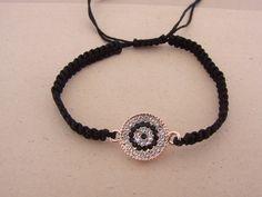 Black  Macrame Rhinestone Evil Eye Bracelet Greek Mati by ForThatSpecialDay on Etsy