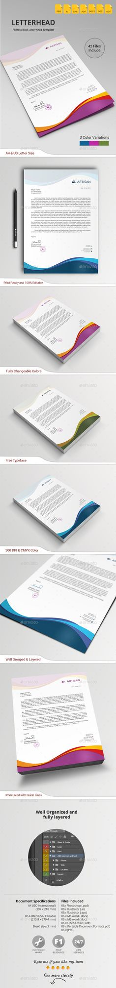 Letterhead in Wave Style (JPG Image, Vector EPS, AI Illustrator, CS3, 8.27x11.69, a4, blue, brand, branding, business, card, clean, corporate identity, corporate letterhead, creative, design, docx, elegant, folder, green, identity, letter, letterhead template, logo, modern, orange, paper, pink, presentation, print ready, professional, stationery, template, wave style, white)