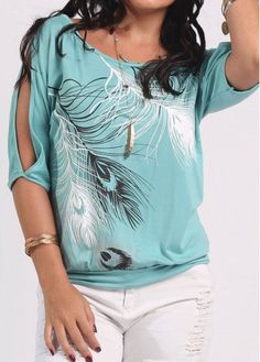 Cold Shoulder Feather Print Peacock Blue T Shirt on sale only US$23.97 now, buy cheap Cold Shoulder Feather Print Peacock Blue T Shirt at liligal.com