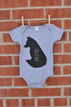 Sly as a Fox - Screenprint Baby Fox Onesie - Woodland Baby - Toddler Romper - Fox Onesie - One piece in Grey Cotton