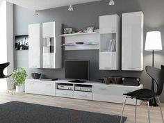 """01 – bianco opaco / bianco lucido Combinazioni di mobili soggiorno """"DEAR II."""""""