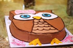 Look whoo's one / hoot owl party ideas -- cake