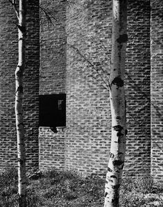 Church of St. Mark, Bjorkhagen, Sweden, 1956 (Sigurd Lewerentz)  Saw this last October. Bricks and birches both intact, looking well-loved. In other words: can this count as Brutalism?