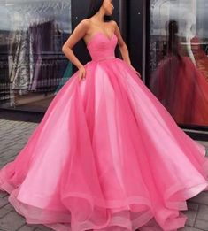 Glamorous Pink Ball Gown Quinceanera Dresses Sweetheart Satin Tulle Floor Length Adult Ceremony Dress · YooYooDress · Online Store Powered by Storenvy Modest Prom Gowns, Senior Prom Dresses, Princess Prom Dresses, Princess Ball Gowns, Ball Gowns Prom, Cheap Prom Dresses, Ball Dresses, Evening Dresses, Dress Prom