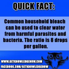 Bleach Can make The Undrinkable, Drinkable come like us for more Interesting facts.... https://www.facebook.com/getknowledgenow