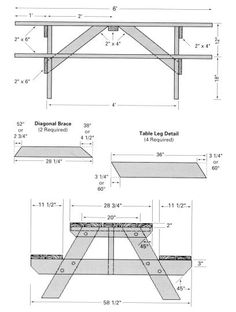 free blueprints for picnic tables | Free picnic table woodworking plans - Classic Style » Woodwork City: