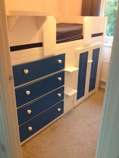 all white cabin bed with 3 drawers. if your child has a small room