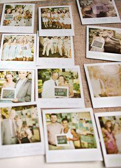Such a cute wedding guestbook idea: polaroid & chalkboard messages