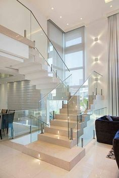 Glass Stairs Design, Home Stairs Design, Home Room Design, Dream Home Design, Modern House Design, Interior Design Kitchen, Glass Railing, Modern Stairs Design, Staircase Glass