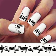 BONANZA: Music staff,Treble clef, Music Note nail art, 4 STRIP nail decals, Nail Art desi Buy Now $4.99 Find at Faearch
