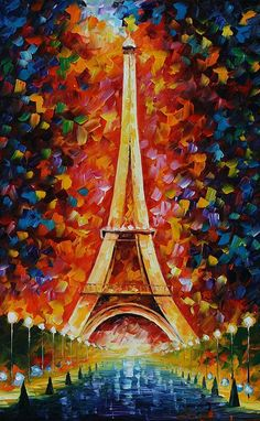 Eiffel Tower Painting - Leonid Afremov The colors inspire me, but should it be…
