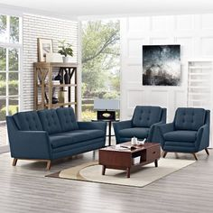 - Beguile 3 Piece Fabric Living Room Set in Azure 3 Piece Living Room Set, Living Room Sets, Living Room Designs, Living Room Decor, Living Room Furniture Sets, Sofa Set Designs, Sofa Design, Modern Furniture, Outdoor Furniture Sets